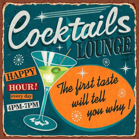 Illustration pour Vintage Cocktails metal sign. - image libre de droit
