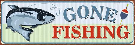 Illustration pour Vintage Gone Fishing metal sign. - image libre de droit