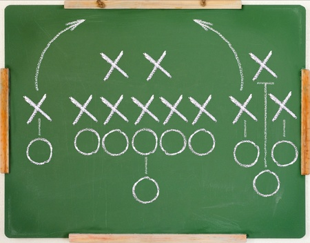 An American football play diagram on a green chalkboard mural