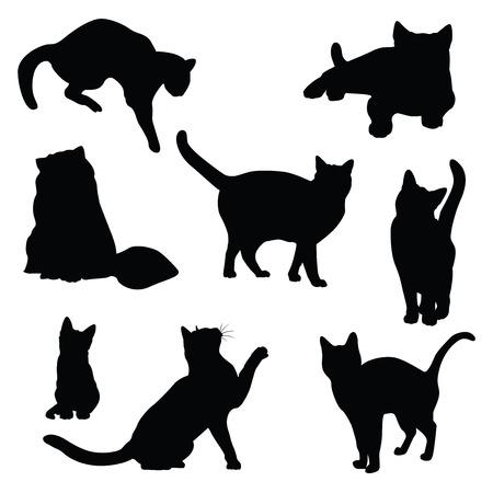 Ilustración de cat silhouette vector set - Imagen libre de derechos