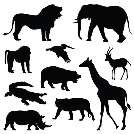 Illustration pour safari animal silhouette illustration set - image libre de droit
