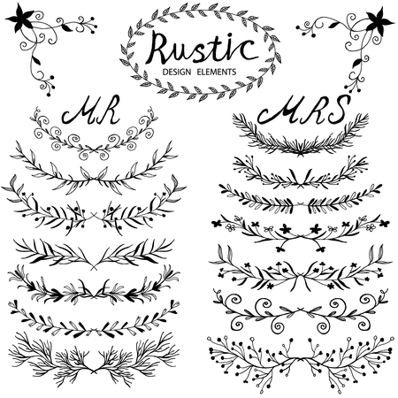 Illustration for Hand-drawn vector floral design elements in rustic style. Vintage set of hand drawn rustic laurels. Floral vector graphic. Nature design elements. - Royalty Free Image
