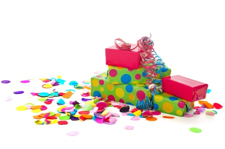 Photo for Colorful birthday presents with paper confetti isolated on white background - Royalty Free Image
