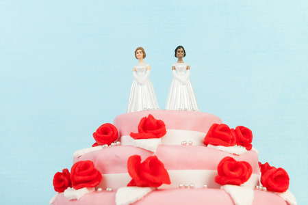 Photo for Pink wedding cake with red roses and lesbian couple on top - Royalty Free Image