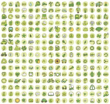 Collection of 256 ecology doodled icons (vignette) with shadows, on background, in colours. Individual illustrations are isolated