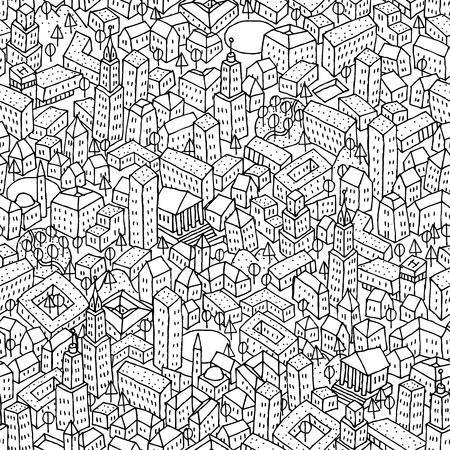 Illustration pour City seamless pattern is repetitive texture with hand drawn houses. Illustration is in eps8 vector mode. - image libre de droit