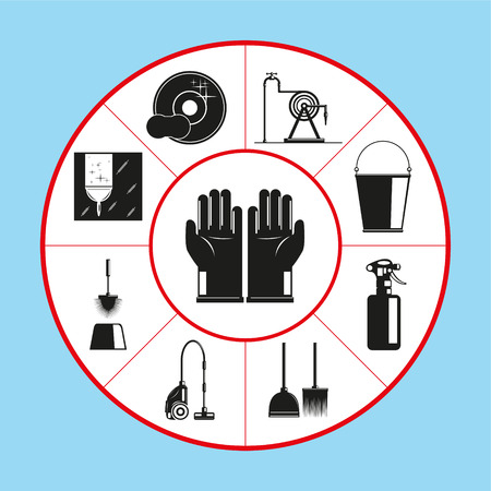 Illustration pour A set of vector icons in the form of a rug diagram on the topic of cleaning the premises. Vector illustration. - image libre de droit