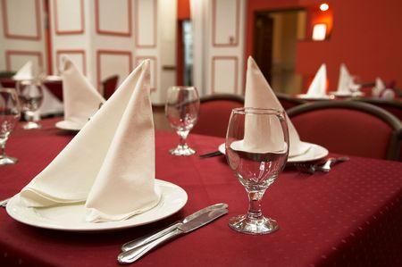 Restaurant. Serve table with dinner set. Novosibirsk, november 2006