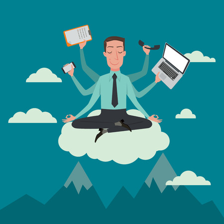 Illustrazione per Businessman in the sky position meditating in peace for any spiritual and inner peace business concepts,vector illustration. - Immagini Royalty Free