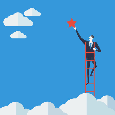 Illustration pour Businessman on a ladder grab the star above cloud. Vector Illustration Business concept a ladder Corporate of success. - image libre de droit