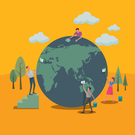 Illustration for Many people helped clean up the world and green concepts. - Royalty Free Image
