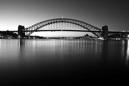 Sydney Harbour Bridge at dawn - in monochrome.