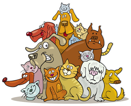 big group of cats and dogs