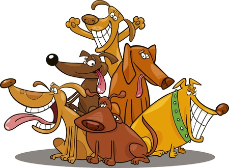 cartoon illustration of funny dogs group