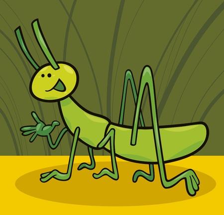 cartoon illustration of funny grasshopper