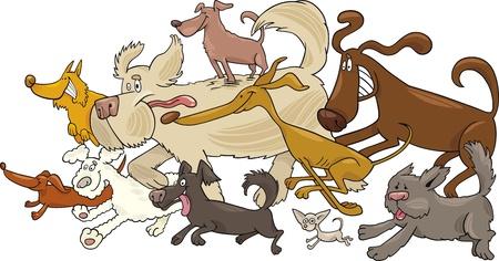 Cartoon illustration of running dogs