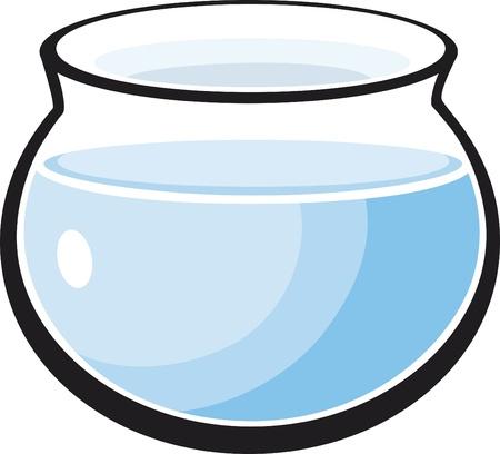 cartoon Illustration of empty fish tank