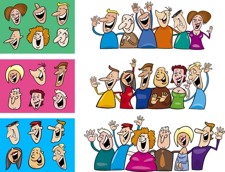cartoon illustration of happy people big set