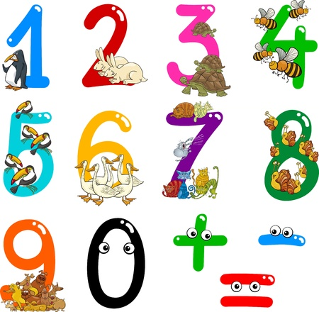 Foto de cartoon illustration of numbers from zero to nine with animals - Imagen libre de derechos