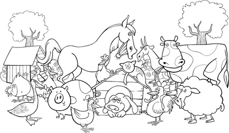 Photo for cartoon illustration of farm animals group for coloring book - Royalty Free Image