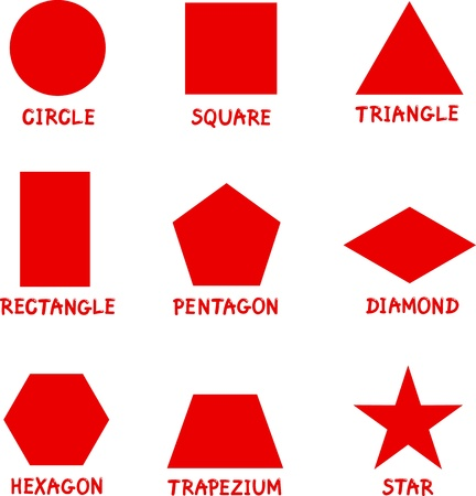 Illustration for Illustration of Basic Geometric Shapes with Captions for Children Education - Royalty Free Image
