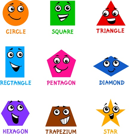 Illustration for Cartoon Illustration of Basic Geometric Shapes Comic Characters with Captions for Children Education - Royalty Free Image