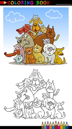 Coloring Book or Page Cartoon Illustration of Funny Dogs Group for Children