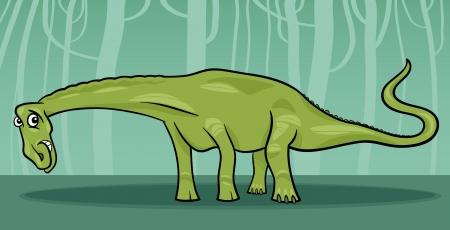Cartoon Illustration of Diplodocus Dinosaur Reptile Species in Prehistoric World