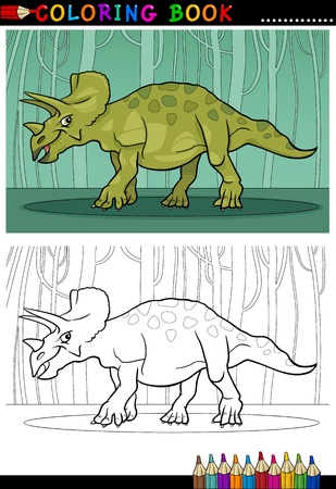 Cartoon Illustration of Triceratops Dinosaur Reptile Species in Prehistoric World for Coloring Book and Education
