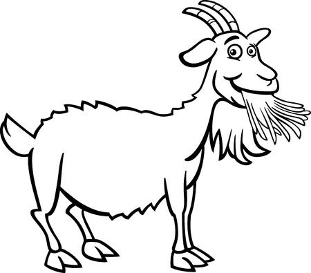 Illustration for Black and White Cartoon Illustration of Funny Goat Farm Animal for Coloring Book - Royalty Free Image