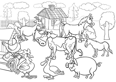 Photo for Black and White Cartoon Illustration of Rural Scene with Farm Animals Livestock Big Group for Coloring Book - Royalty Free Image