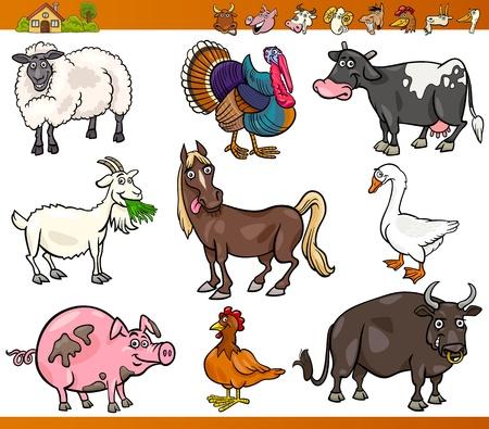 Cartoon Illustration Set of Happy Farm and Livestock Animals isolated on White
