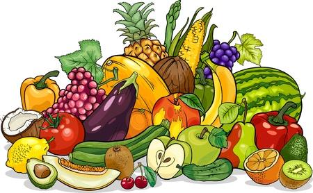 Foto de Cartoon Illustration of Fruits and Vegetables Big Group Food Design - Imagen libre de derechos