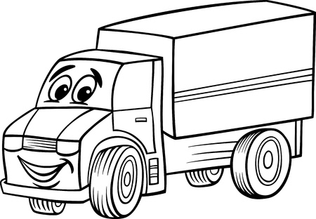 Illustration pour Black and White Cartoon Illustration of Funny Truck or Lorry Car Vehicle Comic Mascot Character for Coloring Book for Children - image libre de droit