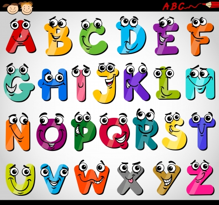 Illustration for Cartoon Illustration of Funny Capital Letters Alphabet for Children Education - Royalty Free Image