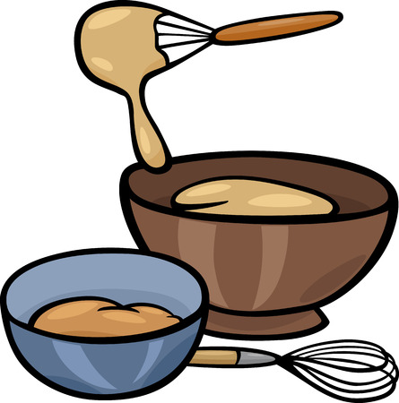 Illustration pour Cartoon Illustration of Kneading Dough with Whisk in a Bowl Clip Art - image libre de droit