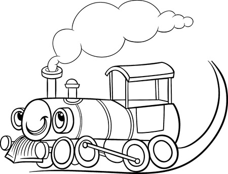 Illustration pour Black and White Cartoon Illustration of Funny Steam Engine Locomotive or Puffer Belly Train Transport Character for Coloring Book - image libre de droit