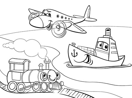 Illustration pour Black and White Cartoon Illustration of Funny Plane and Train and Ship Transport Comic Characters Group for Coloring Book - image libre de droit