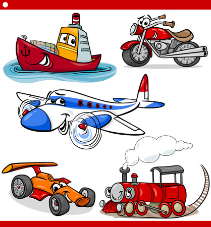 Illustration pour Cartoon Illustration of Cars and Trucks Vehicles and Machines Comic Characters Set for Children - image libre de droit