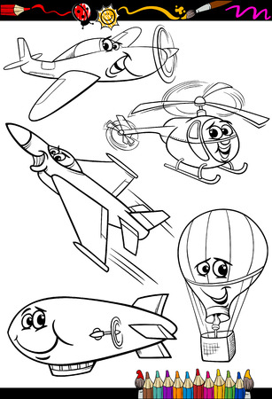 Illustration pour Coloring Book or Page Cartoon Illustration Set of Black and White Aircraft or Air Vehicles Characters for Children - image libre de droit