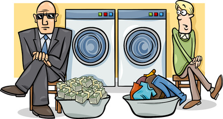 Illustration pour Cartoon Humor Concept Illustration of Money Laundering Saying or Proverb - image libre de droit