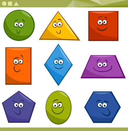 Ilustración de Cartoon Illustration of Basic Geometric Shapes Funny Characters for Children Education - Imagen libre de derechos