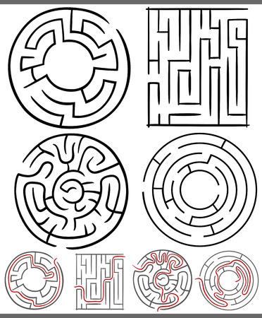 Illustration pour Set of Mazes or Labyrinths Graphic Diagrams for Children Education - image libre de droit