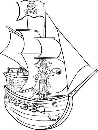 Illustration pour Black and White Cartoon Illustration of Funny Pirate Captain with Spyglass and Ship with Jolly Roger Flag for Coloring Book - image libre de droit