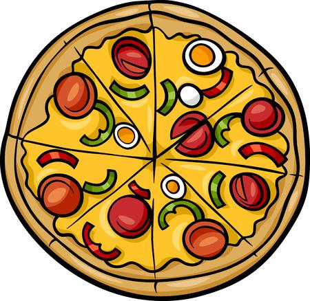 Illustration pour Cartoon Illustration of Italian Pizza Food Object - image libre de droit