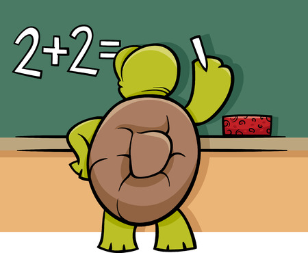 Illustration pour Cartoon Illustration of Funny Turtle Animal Character Solving a Math Problem at Blackboard - image libre de droit