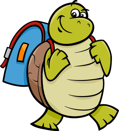 Illustration pour Cartoon Illustration of Happy Turtle Animal Character with Satchel or School Bag - image libre de droit