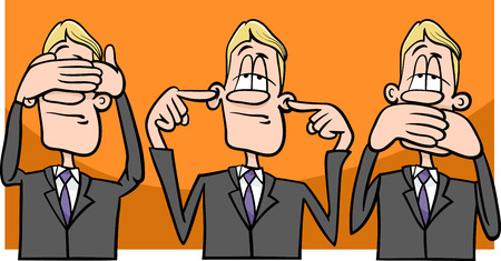 Illustrazione per Cartoon Humor Concept Illustration of See no Evil Hear no Evil Speak no Evil Saying or Proverb - Immagini Royalty Free