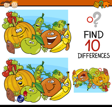 Illustration pour Cartoon Illustration of Finding Differences Educational Game for Preschool Children - image libre de droit