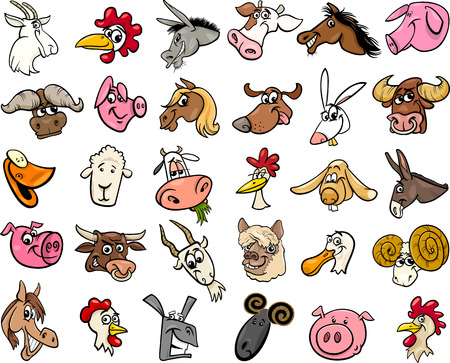 Photo pour Cartoon Illustration of Funny Farm Animals Heads Big Set - image libre de droit